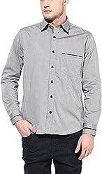 Y.U.V.I. Men's Cotton Regular Fit Casual Shirt (11113016-S, Grey, Small)