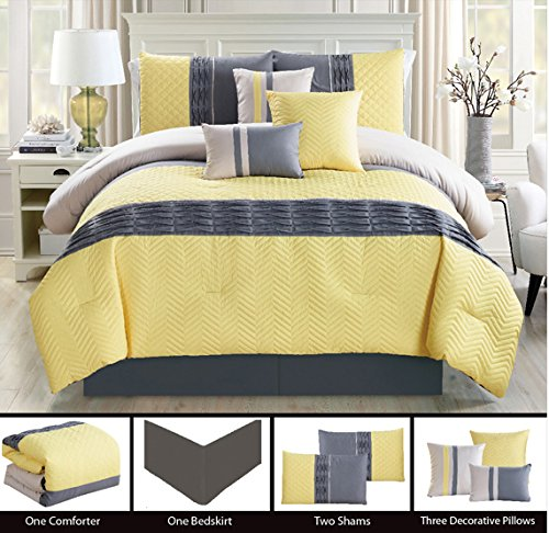 Modern 7 Piece (California) CAL KING Bedding Yellow / Grey ZigZag Chevron Quilted Comforter Set with accent pillows (Chevron Quilted Comforter compare prices)