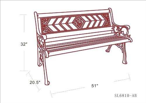 DC America SL6810-AB, Amarillo Rose Park Bench, Cast Iron Frame and Hardwood Slats, Rust Resistant Bronze Finish