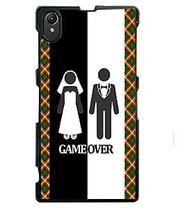 PRINTVISA GameOver Premium Metallic Insert Back Case Cover for Sony Xperia Z1 - D5653