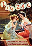 Zig Zag Girl Smoking Cigar Cigarettes French Vintage Poster Repro