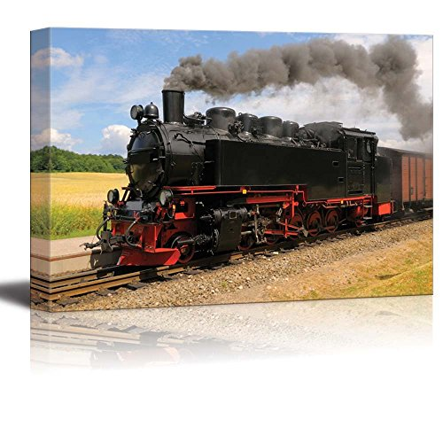 Canvas Prints Wall Art - Steam Train with Black Smoke Running on Island Rugen, Northern Germany | Modern Wall Decor/ Home Decoration Stretched Gallery Canvas Wrap Giclee Print & Ready to Hang - 16