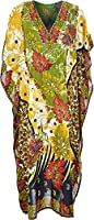 Womens Long Kaftans Floral Print With Waist Tie V Neck