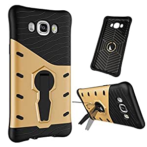 Jma 360 Degree Dual Protection Layer Hybrid TPU + PC Kickstand Case Cover for Samsung Galaxy J7 (2016) - Gold