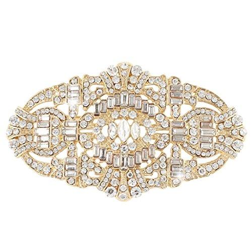 EVER FAITH Wedding Art Deco Buckle Brooch Clear Austrian Crystal Gold-tone