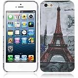 Cadorabo ! Apple Iphone 5/ 5G / 5S Coque Tourbillon Housse Hard Cover Image Paris tour eiffel France
