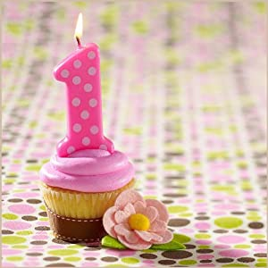 Pink 1st Birthday Polka Dot Candle from Bakery Crafts