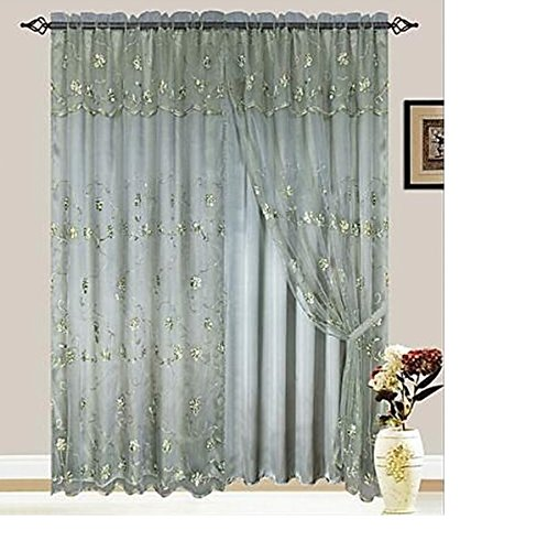 Luxury Giselle Embroidered Panel Curtain with Attached Valance and Backing