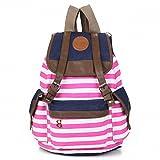 Canvas Backpack School Bag College Laptop Bag Girls Boys Students Pink