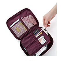 BAIGIO Nylon Travel Storage Toiletry Bag Makeup Cosmetic Cases Organizer Bags Burgundy