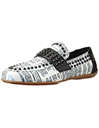 Galliano Men's Black And White Loafers And Mocassins
