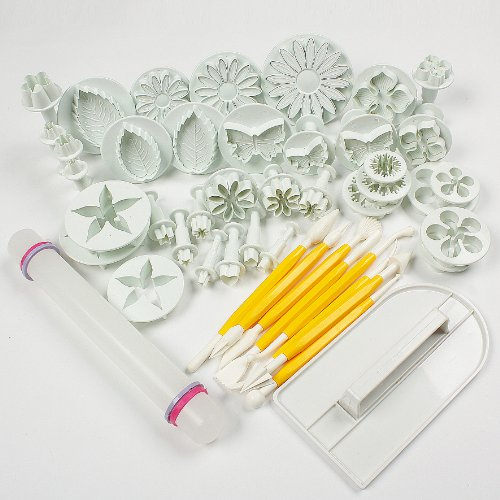 Catalina Cake Tools 14 sets (46pcs) Flower Fondant Cake Sugarcraft Decorating Kit Cookie Mould Icing Plunger Cutter Tool