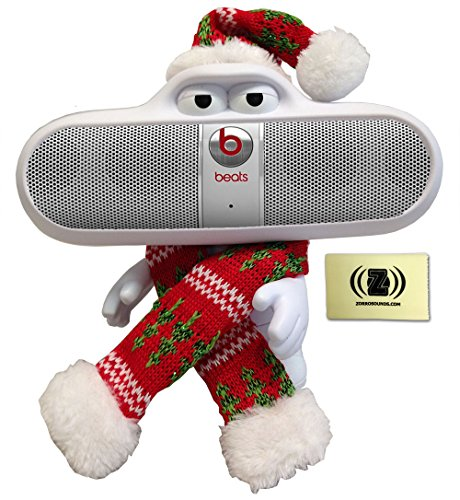 Festively Dressed Beats Pill White Character Stand Singing Christmas Carols Through Silver Beats Pill Portable Speaker System