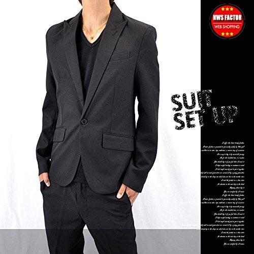 セットアップ スーツ メンズ テーラードジャケット スリム 1B パンツスーツ 迷彩 カモフラ きれいめ ホスト (XL(LL), ブラック)