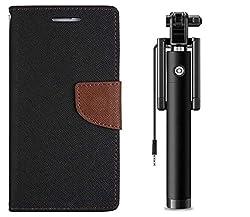 Novo Style Book Style Folio Wallet Case Samsung Galaxy Grand 2 7106 Black + Wired Selfie Stick No Battery Charging Premium Sturdy Design Best Pocket SizedSelfie Stick