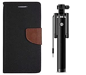 Novo Style Book Style Folio Wallet Case Samsung Galaxy J1 Ace Black + Wired Selfie Stick No Battery Charging Premium Sturdy Design Best Pocket Sized Selfie Stick