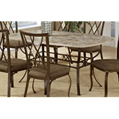 Hillsdale Brookside Rectangle Dining Table Brown Powder Coat Finished Base and Fossil Stone Top