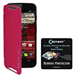 Chevron Flip Cover For Moto G 2nd Gen With Chevron HD Screen Guard (Pink)