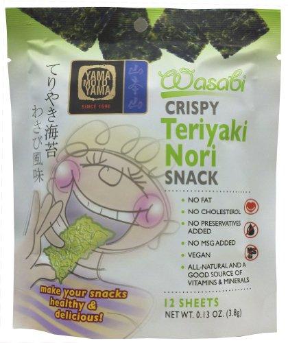 Yamamotoyama Teriyaki Nori Snack, Wasabi, 0.13-Ounce (Pack of 12)