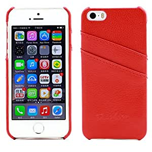 iPhone 5 5s Case, AIYZE Apple iPhone 5G 5s Case Premium Genuine Leather Back Case with Card Holder Litchi Red