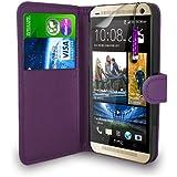 HTC One M8 - Leder Geldbörse Flip Hülle Tasche + Mini Stylus Pen + Displayschutzfolie und Poliertuch (Dark Purple)