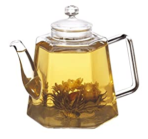 GROSCHE VIENNA Infuser Glass Teapot 1250ml 42 fl. oz -- Includes 3 free delicious jasmine inspired blooming green tea flowers!!