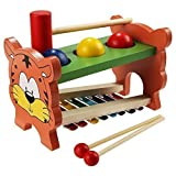 Arshiner Wooden Toys Pound & Tap Bench with Slide out Xylophone