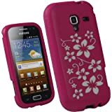 iGadgitz Pink & White Flowers Silicone Skin Case Cover for Samsung Galaxy Ace 2 I8160 Android Smartphone Cell Phone + Screen Protector