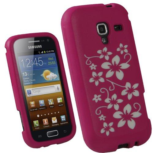 igadgitz Pink Rosa & Weiß Weiss Blumen Motiv Silikon Skin Tasche Hülle für Samsung Galaxy Ace 2 I8160 Android Smartphone Handy + Display Schutzfolie