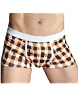 99extra Underwear, 3 Color Men's Plaid Milk Silk Skinny Boxer Briefs