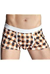 99extra Underwear, 3 Color Men's Plaid Milk Silk Skinny Boxer Briefs