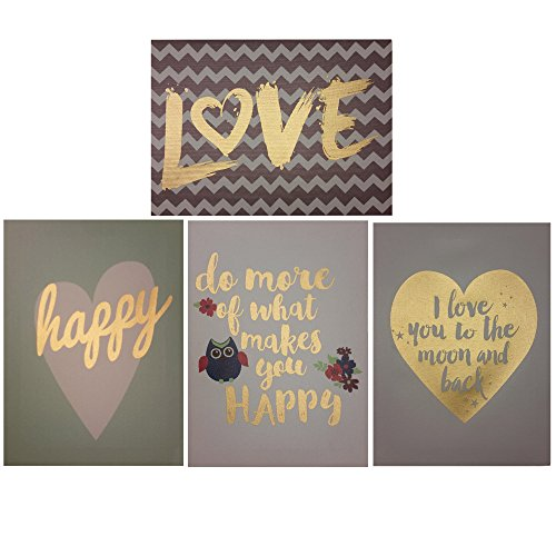 Decor Hut Set of 4 streched canvas, love, happy, cute quotes! soft colors to match any room! (Quote Paintings compare prices)