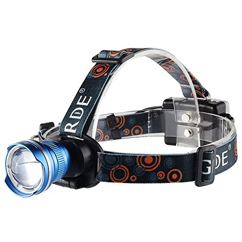 GRDE® 1800LM Headlights Luce Testa,Lampada Frontale, Headlamp Multifunzionale Ultra Luminoso Ruotabile con Telescopica Zoom,Faro Zoomable Impermeabile 3 Livelli Luminosità Focusable Regolabile con Tre Tipi di Modi di Ricarica Ideale per Camping,Outdoor,Bici,Corsa,Caccia,Pesca,Auto,Moto,Barca,Emergenza. (Blu)