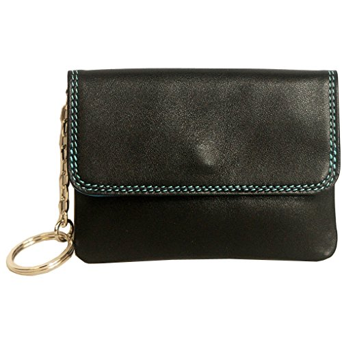 belarno-a01-leather-coin-purse-with-key-fob-black-with-multi-color-interior