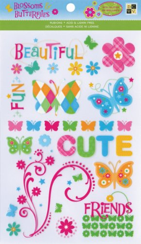 Die Cuts With A View Blossoms Rub On Glitter Stickers front-74881