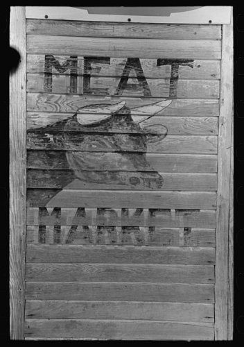 Meat Market sign in Kenner, Louisiana, 1938