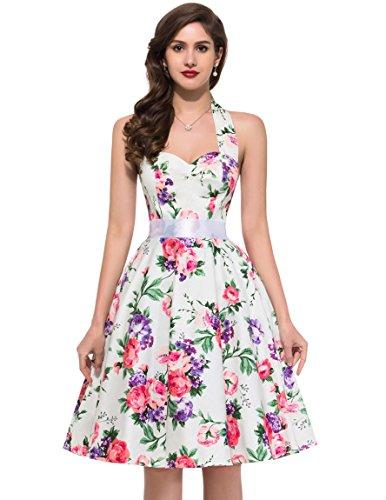 GRACE KARIN Women Vintage 1950s Polka Dots Rockabilly Dress with Sash 6