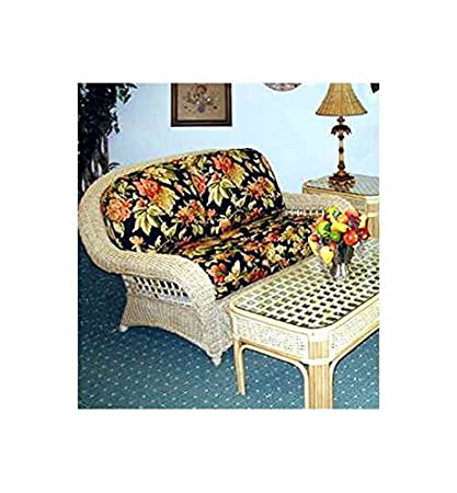 Natural Wicker Loveseat with Cushions (Sumerset Mist (All Weather))