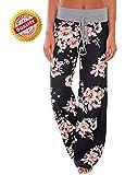 AMiERY Women's Casual Pajama Pants Floral Print Drawstring Palazzo Lounge Pants Wide Leg