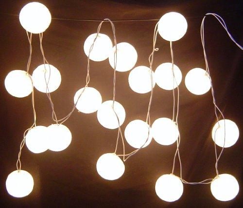 New Solar Powered Led White Cotton Ball Lantern Fairy Light String