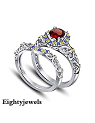 14k White Gold Over 925 Silver Multicolor CZ Princess Snow White Engagement Ring Set For Women's