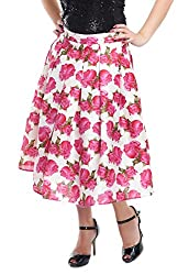 ZOYS Women's Georgette Regular Fit Skirt (White and Pink)