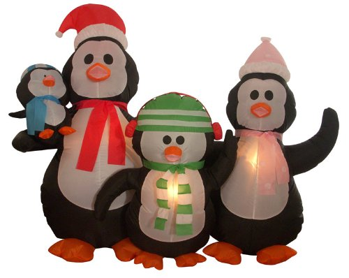 5' Airblown Inflatable Penguin Family Lighted Christmas Yard Art Decoration