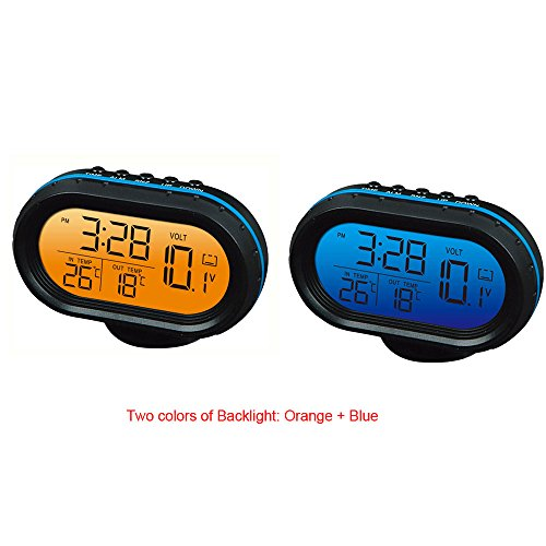 Yosoo 12V Car Digital Thermometer Voltmeter Clock Alarm Monitor, Multifunctional Auto Meter Clock Voltage Freezing Temperature Gauge, Clock LCD Monitor Battery Meter Detector LED Display (Blue) (Car Clock Thermometer compare prices)
