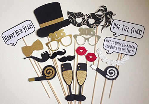 New Year Photo Booth Props, New Year Party Decoration, Mask, Attached to the stick NO DIY Required, USA-SALES Seller (18 PCS)