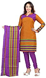 AAINA Women's Poly cotton Unstitched Dress Material (Orange)