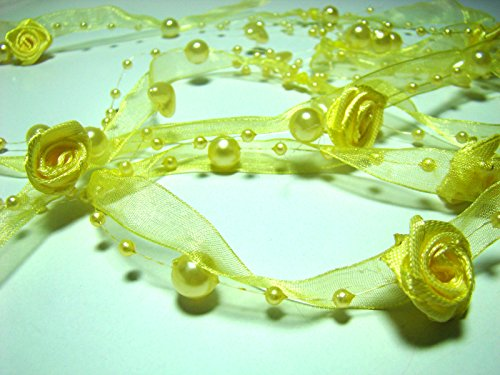 10 metres ruban à la mode avec des roses et perles (Jaune)