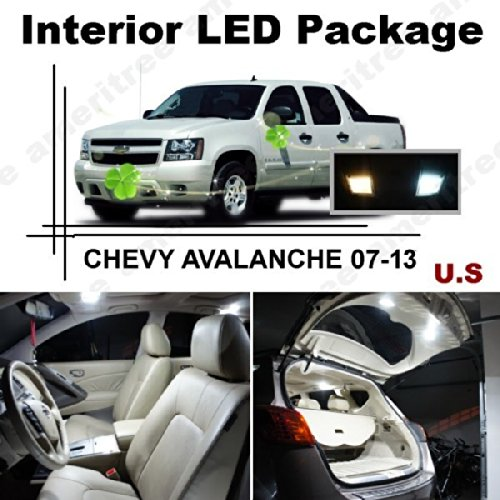 Ameritree Xenon White Led Lights Interior Package + White Led License Plate Kit For Chevy Avalanche 2007-13 (13 Pcs)
