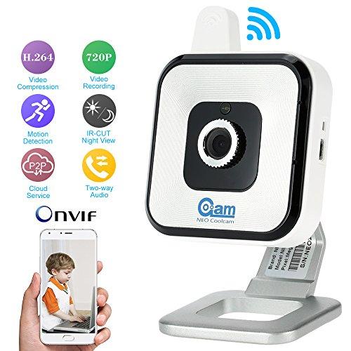 Vinteky® Wireless Innen kamera Video Monitor WiFi 720P Überwachungskamera CCTV Nachtsicht System(Weiß)