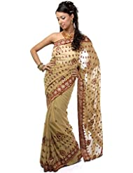 Exotic India Beige Sari With Patch Border And Embroidered Bootis All-Ove - Beige